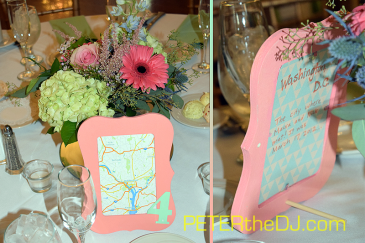 Unique table number markers highlight different locations that hold sentimental value to the newlyweds