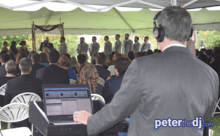DJ Peter Naughton plays a wedding reception at Stone Quarry Hill Art Park