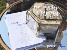 Tissues and programs offered to guests as they arrived for the ceremony.