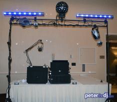 DJ Peter Naughton's setup at Andrea and Larry's wedding reception at Turning Stone, Verona, NY