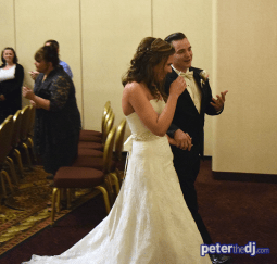 Andrea and Larry recessional after their wedding ceremony at Turning Stone Casino Resort in Verona, NY, April 2018.