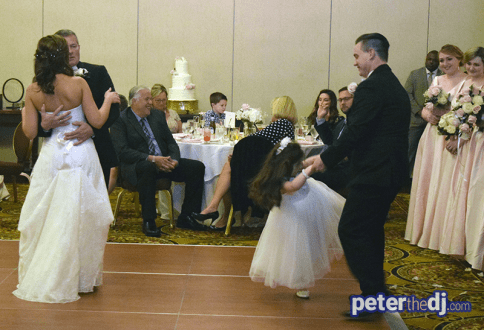 Bride and father dance, while groom and daughter dance, , wedding reception at Turning Stone, Verona, NY