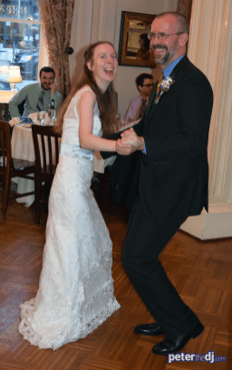 DJ photos from Megan and Tat's wedding reception at Lincklaen House, Cazenovia, NY, May 2018.