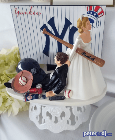 Yankees wedding cake decoration: Chris and Ashley's wedding at Lake Shore Yacht & Country Club, Cicero, NY