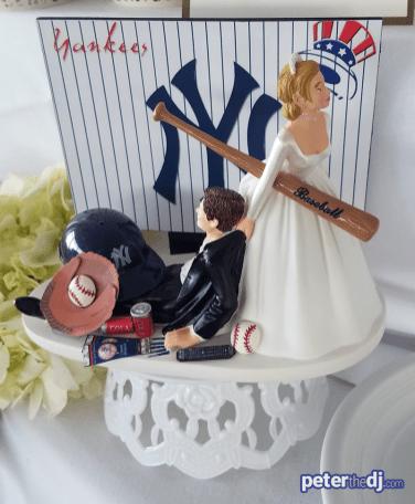 Yankees wedding cake decoration: Chris and Ashley's wedding at Lake Shore Yacht & Country Club, Cicero, NY