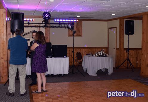 DJ Sound and Lighting Setup: Kathy and Duncan's 25th wedding anniversary at Drumlins, Syracuse