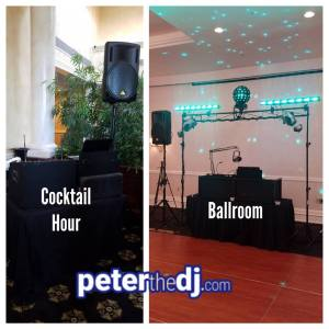 DJ setups at Natalie and Matthew's wedding reception at the Genesee Grande Hotel in Syracuse, NY, June 2018.