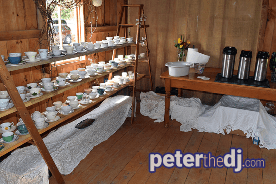 Coffee station at Amber and Nate's wedding at Our Farm, Manlius / Cazenovia, NY. Photo by wedding DJ Peter Naughton