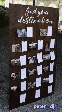 Wedding seating board at Amber and Nate's wedding at Our Farm, Manlius / Cazenovia, NY. Photo by wedding DJ Peter Naughton