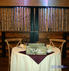 Sweetheart table at Emily and Nick's wedding at Tailwater Lodge, Altmar, NY. Photo by DJ Peter Naughton. October 2018