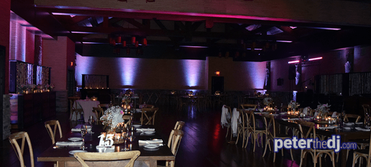 Uplighting at Emily and Nick's wedding at Tailwater Lodge, Altmar, NY. Photo by DJ Peter Naughton. October 2018