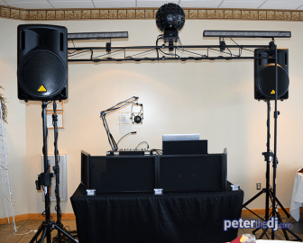 Wedding DJ setup at Bethany and Brian's wedding at Skyline Lodge, Highland Forest, Fabius, NY. November 2018. Photo by DJ Peter Naughton peterthedj.com