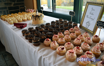 Dessert display at Bethany and Brian's wedding at Skyline Lodge, Highland Forest, Fabius, NY. November 2018. Photo by DJ Peter Naughton peterthedj.com