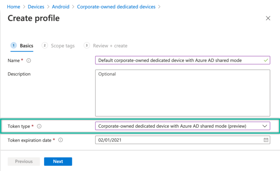 Figure 1: Example of the Android Enterprise corporate-owned dedicated device enrollment profile