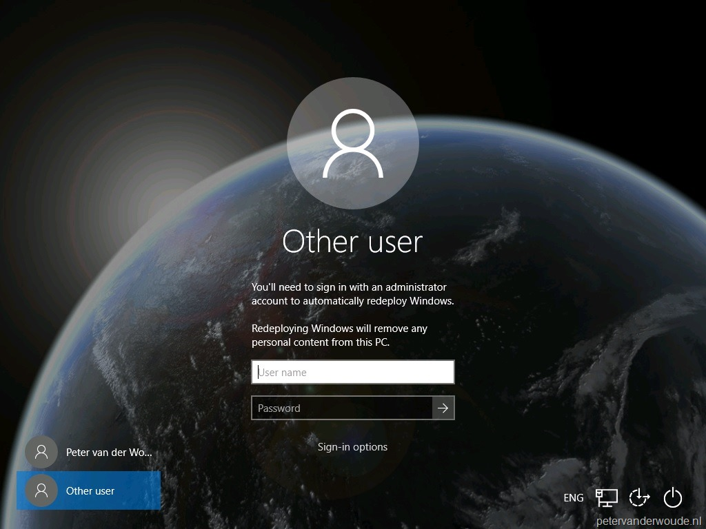 Enable Windows Automatic Redeployment from the login screen