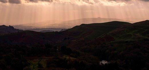 Shafts of sunlight at Malvern Hills