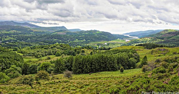 Panorama view of Mawddach river and Cader Idris