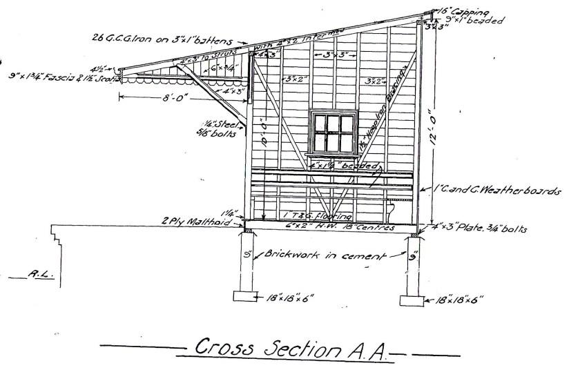 The original NSWGR General Arrangement diagram of the 1914 era unattended platform waiting shed.