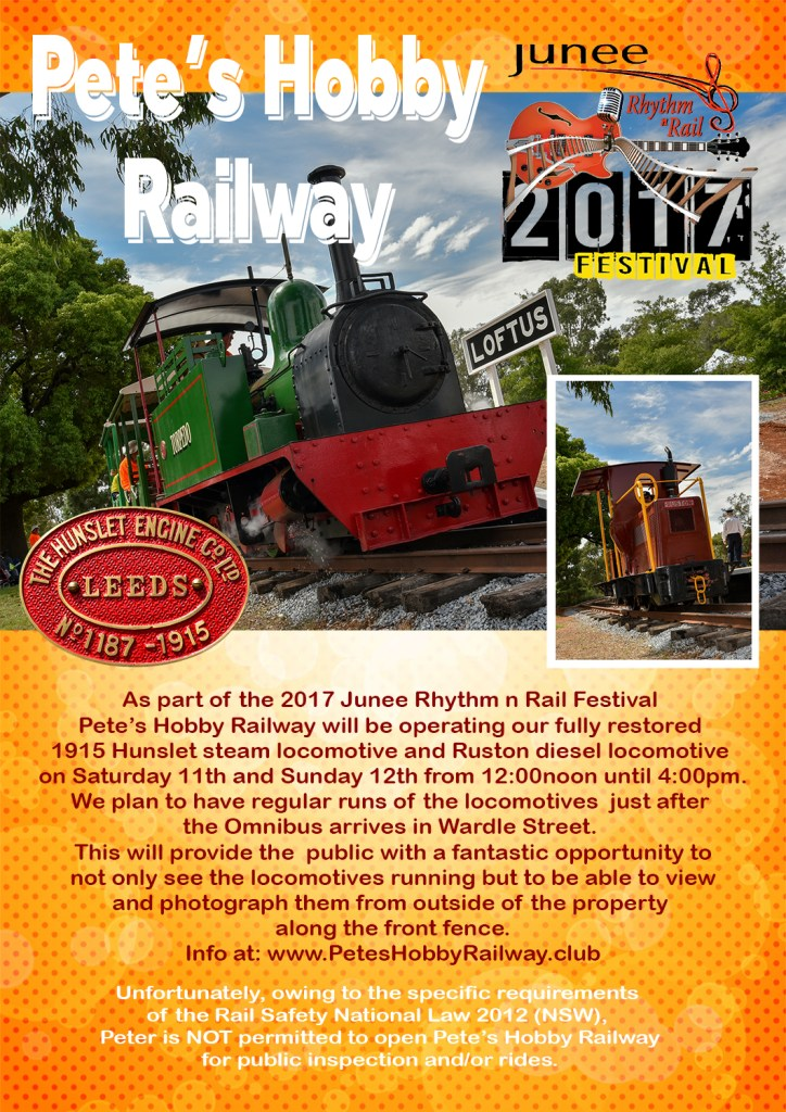 Pete's Hobby Railway operating during Junee Rhythm n Rail 2017 Festival