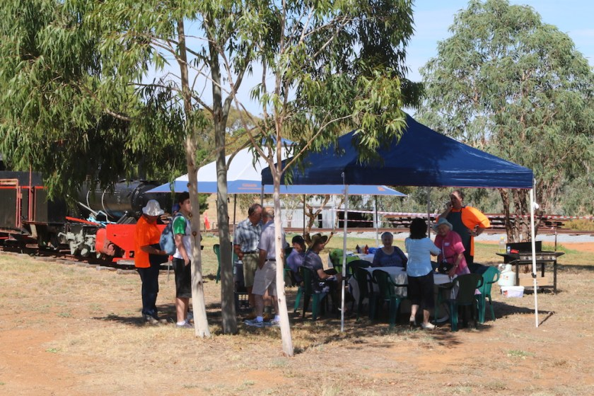 Image 2017.1766: Together with some of the many young trees around my property, the two gazebos provide welcome shade for the Tumba Rail guests. Nick can be seen on the right pondering when he should start on the BBQ!