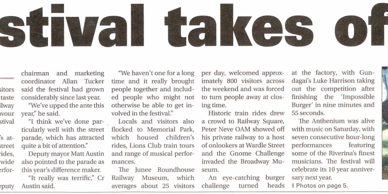 Festival takes off Junee Southern Cross, Page 1 March 16, 2017