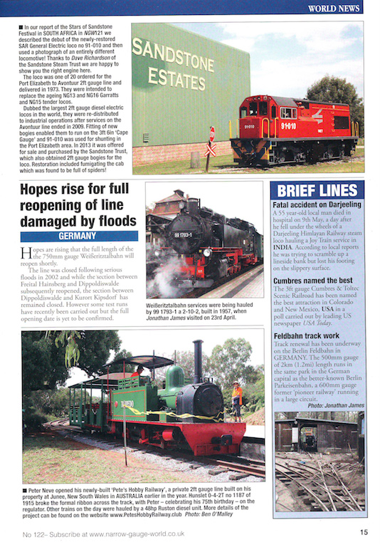 Full Page extract of Page 15 of Narrow Gauge World, June 2017