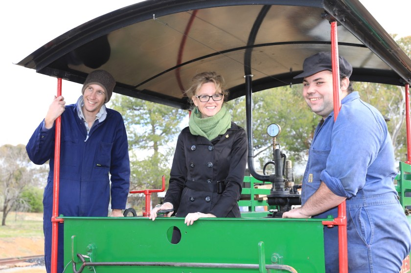 Image 10. Steph, Josh and Matt in the cab of the Hunslet steam locomotive