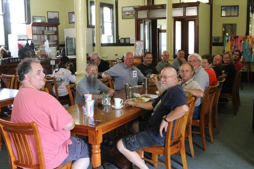 Image 2017-1391: Peter and his guests enjoying Sunday brunch at the Junee Station Railway Cafe