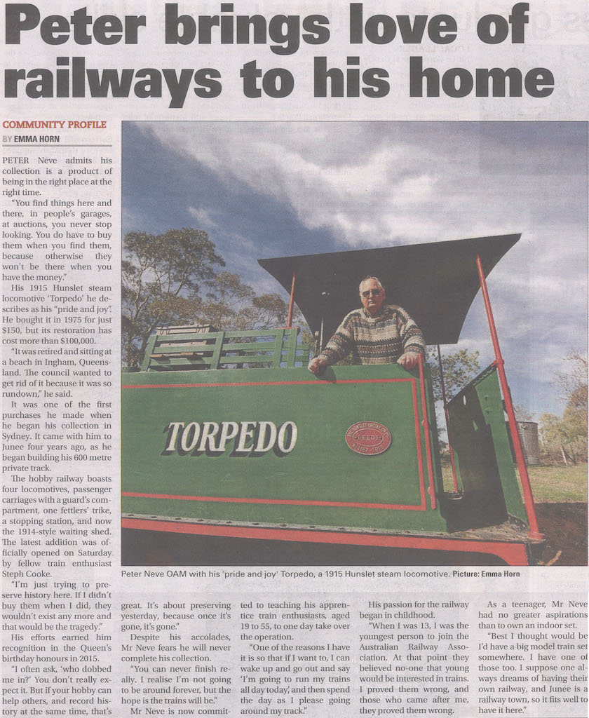 Peter brings love of railway to his home Junee Southern Cross Page 4, July 5, 2018