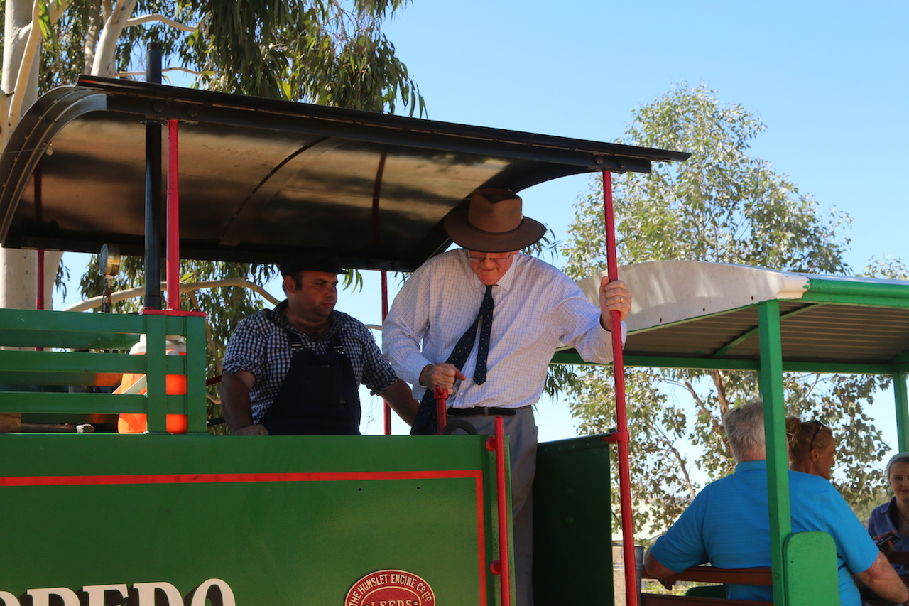 The Hon. Tim Fischer AC, acting as Fireman aboard Torpedo at Pete's Hobby Railway