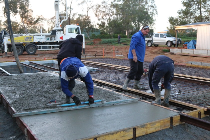 Image 2019.1676: Reinforcing mesh has been laid and concreting has commenced. Thursday, 11th July.