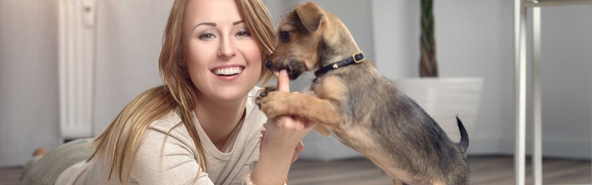 Picture of a puppy and a woman in living room