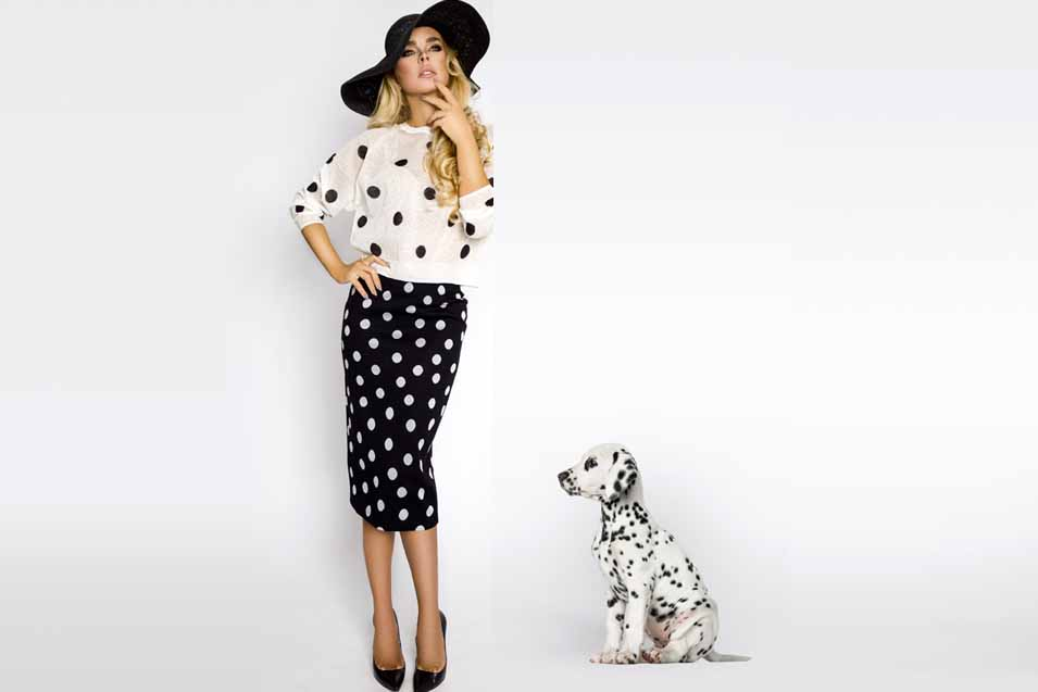Picture of a woman and her spotted dog