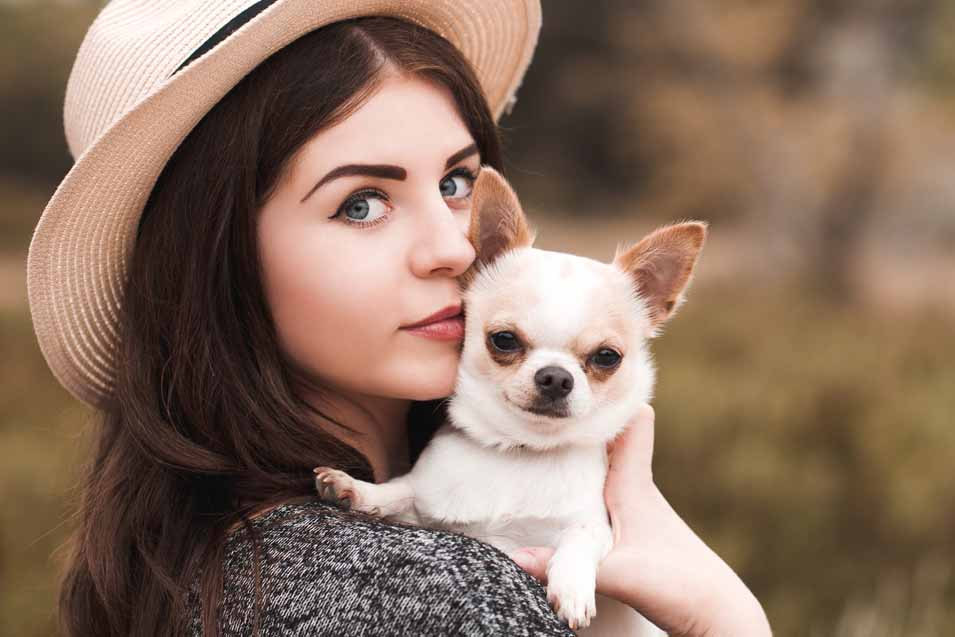 Picture of a woman holding a Chihuahua