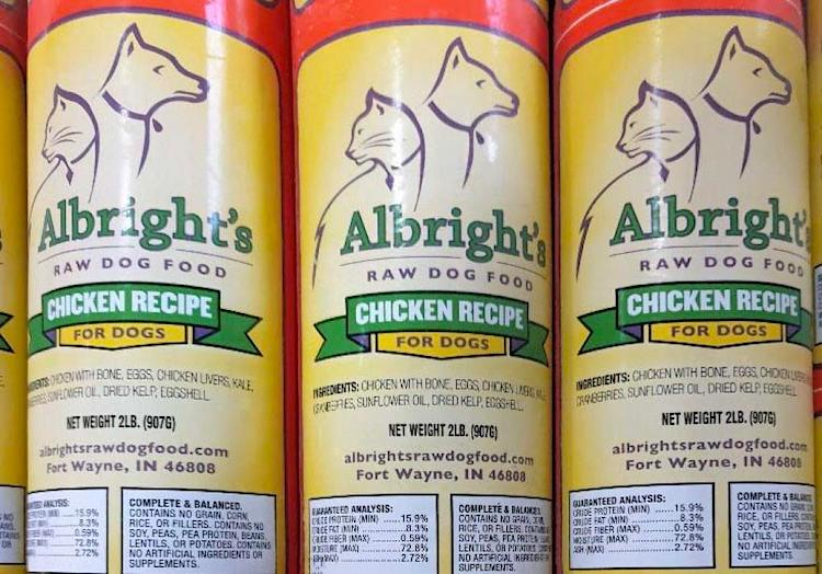 Photo of 3 tubes (chubs) of Albright's Raw Dog Food Chicken Recipe