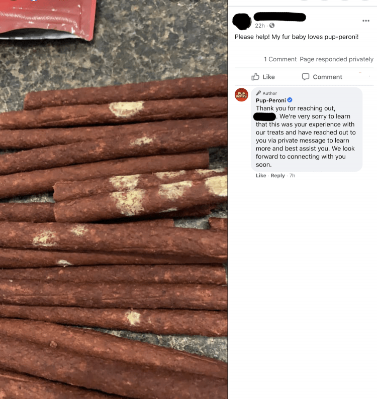 Photo posted by a consumer showing an open bag of treats with what looks like splotches of white mold on some of the treats