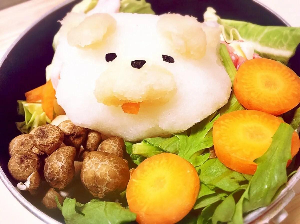犬と野菜のみぞれ鍋