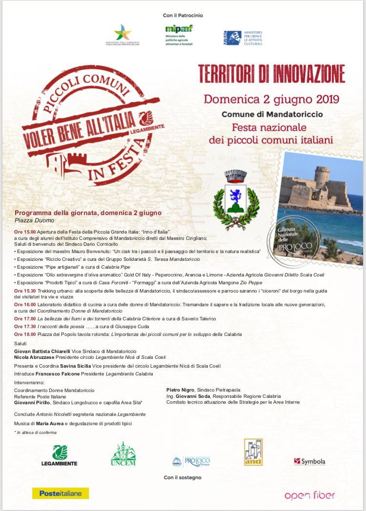 Domenica 2 giugno a Mandatoricccio e a San Lorenzo Bellizzi la festa nazionale dei piccoli comuni Voler Bene all'Italia