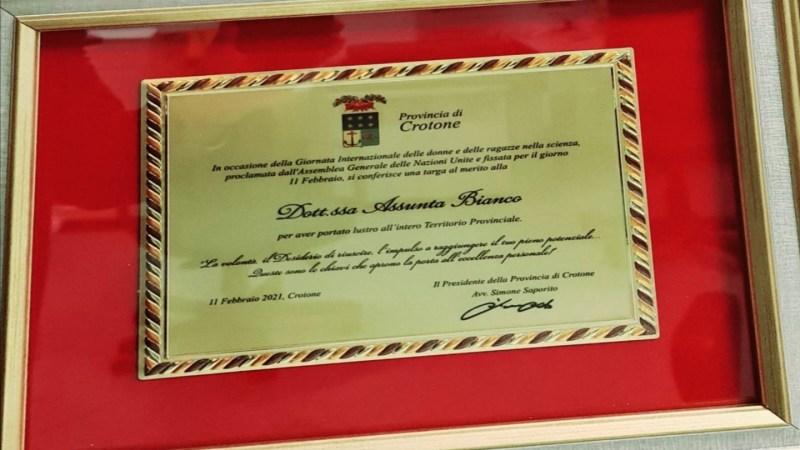 Ricercatrice del Gemelli di Roma, nativa di Mesoraca premiata dalla Provincia