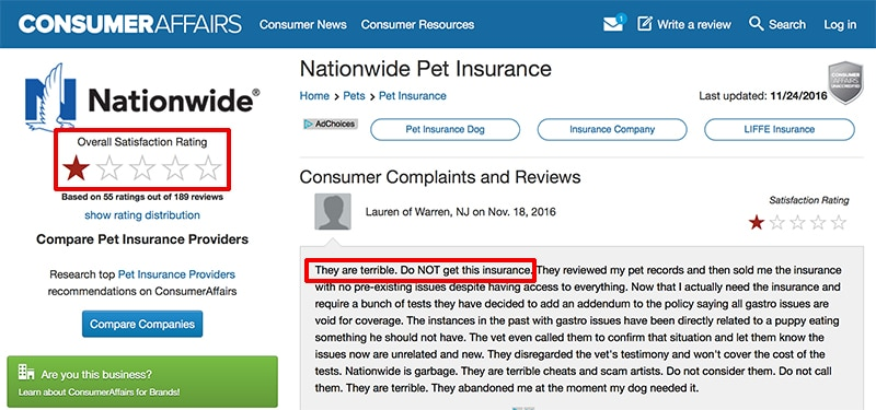 nationwide pet insurance reviews-ca