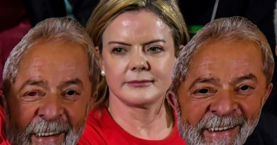 Gleisi com mascara de Lula