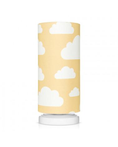 lampe de chevet enfant jaune moutarde motif nuages
