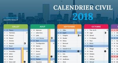 calendrier civil 2018