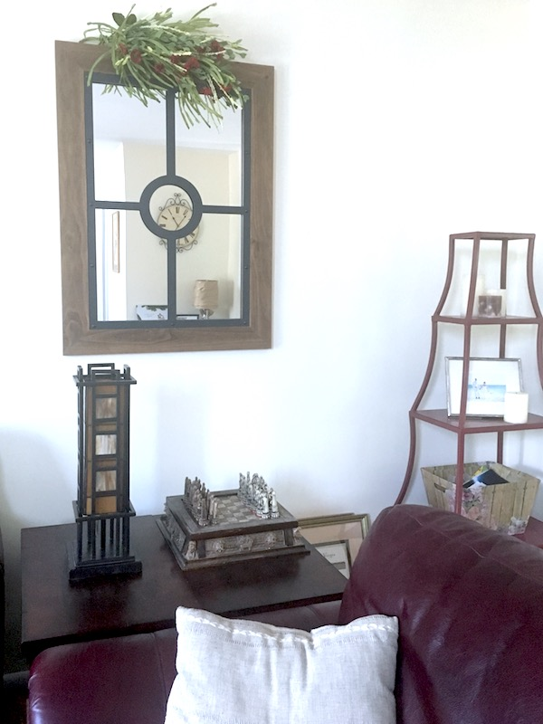 wood and iron decorative mirror