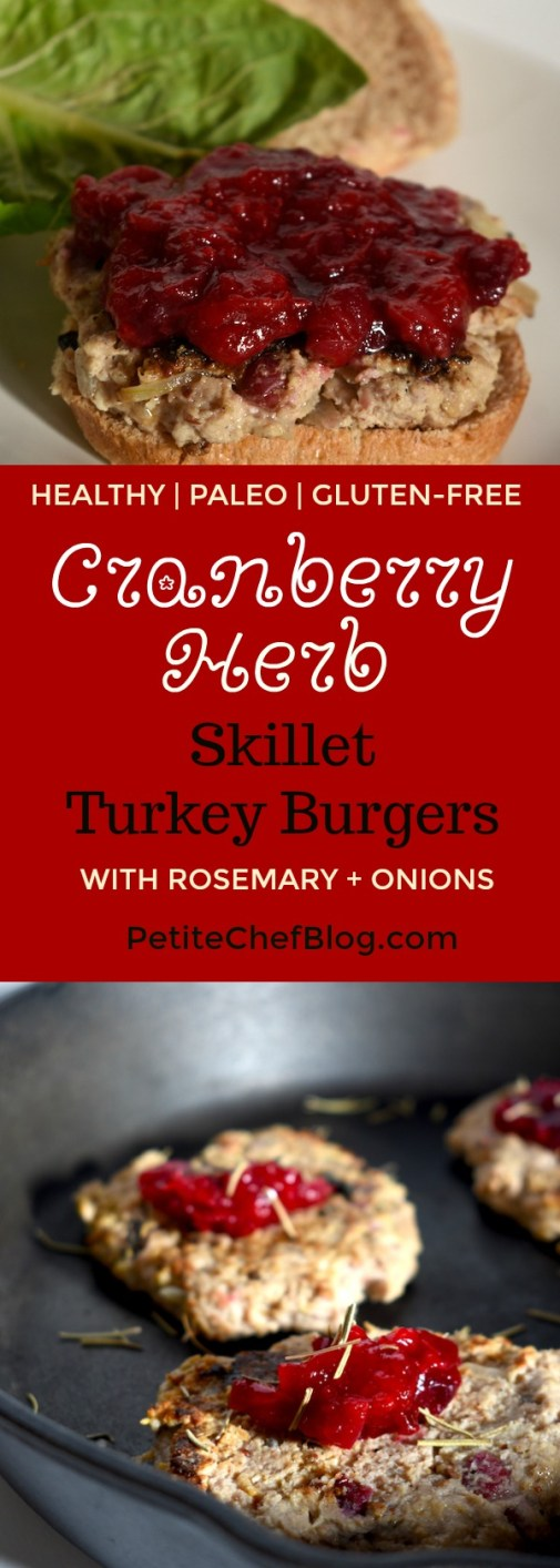 Cranberry Rosemary Skillet Turkey Burgers | Ready in 20 mins! Paleo / Gluten-free / Sweetened with stevia | PETITECHEFBLOG.COM