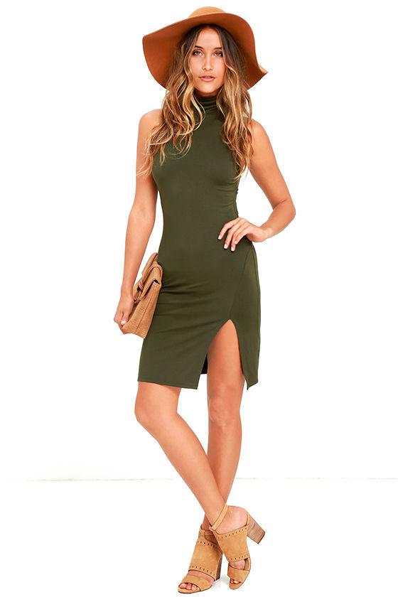 LOVE IT OLIVE GREEN BODYCON DRESS