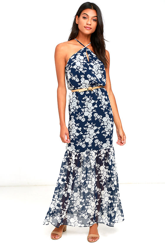 ALI & JAY JOELLE NAVY BLUE FLORAL PRINT MAXI DRESS