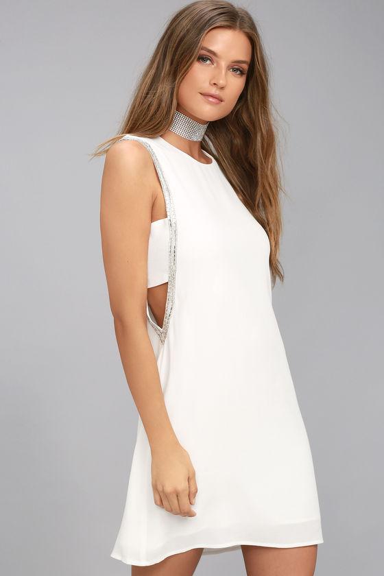 SKYLARK WHITE BEADED SHEATH DRESS