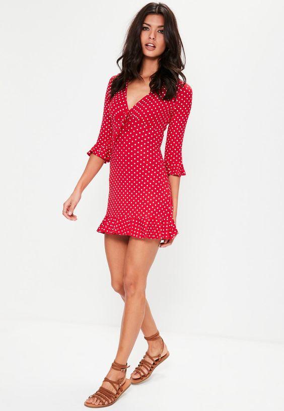 red polka dot print frill tea dress