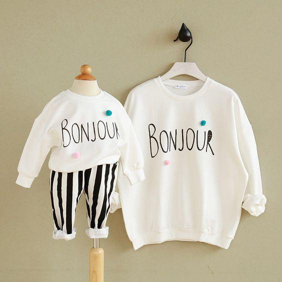 Bonjour Print Long-sleeve White Pullover Family Matching